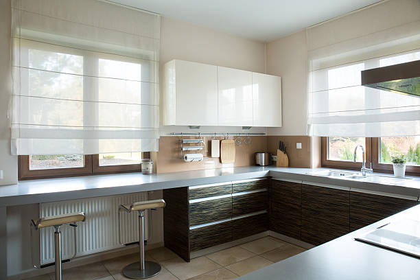 White and brown kitchen interior in traditional style