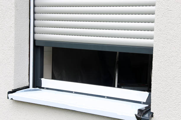 Newly installed window with roller shutter