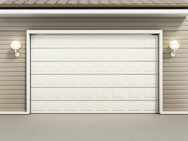 Half open garage door.